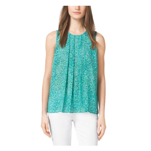 MICHAEL MICHAEL KORS Rain-Print Georgette Top PEPPER GREEN